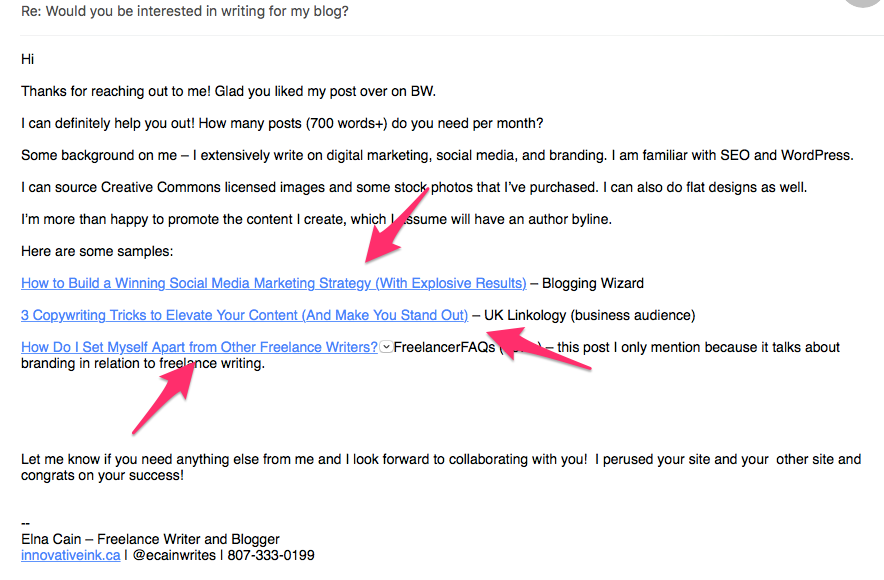 obscure ways lance writers can create samples from scratch  sample links in email