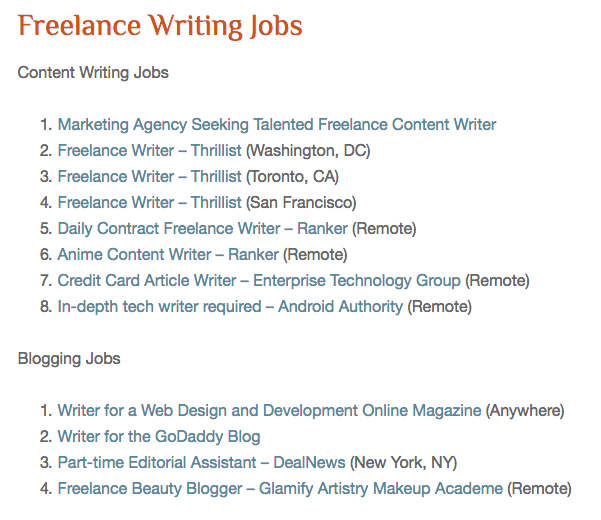 places to land lance writing gigs online elna cain lance writing jobs doesn t really have a job board what they do is post a ldquoblog postrdquo links to potential lance writing jobs