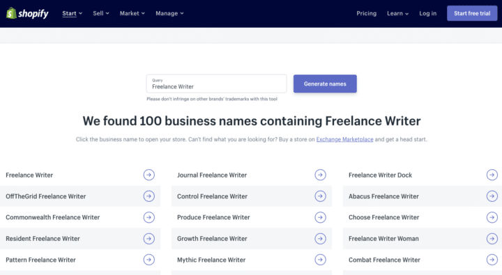 Companyname Generator: Business Name Ideas For Freelance Writers