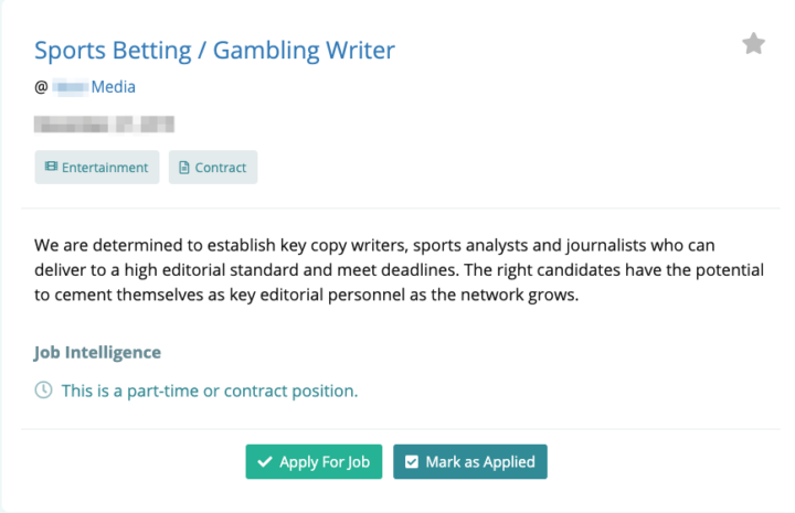 Sports betting writing jobs