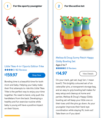 Product toy descriptions for Walmart