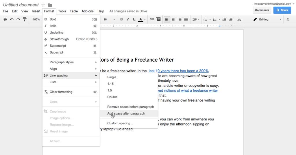 Google Docs Line Spacing