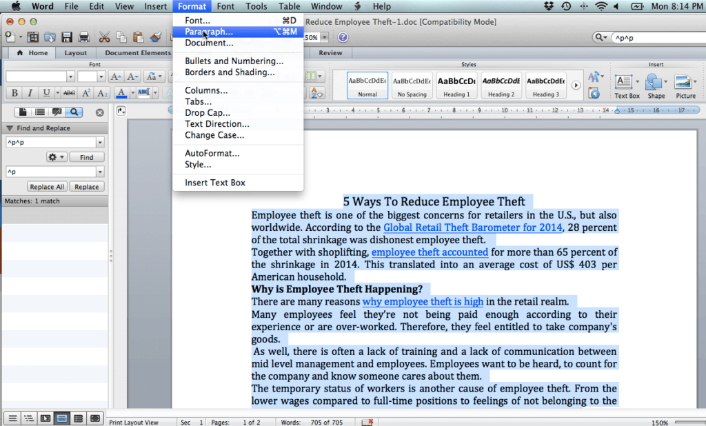 Paragraph Formatting MS Word Mac
