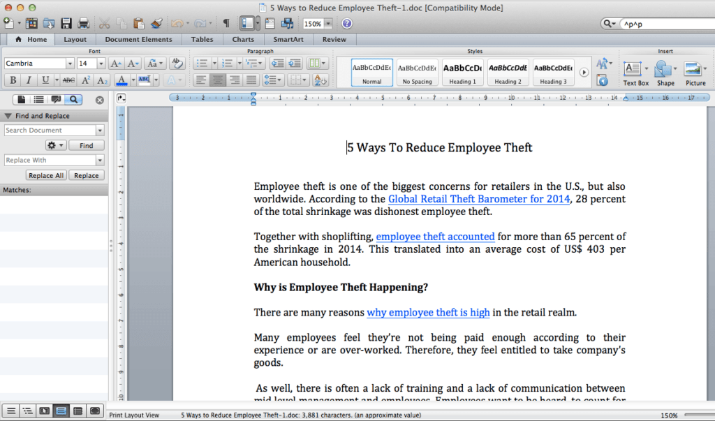 Replace side panel in MS Word Mac