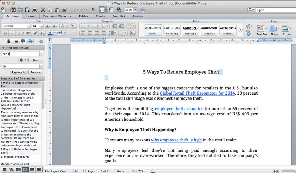 Paragragh Mark MS Word Mac
